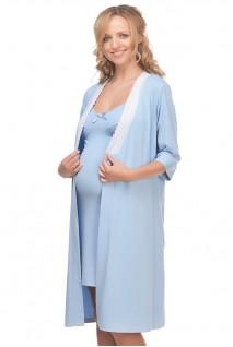 Халат трикотажний арт. 25305 Блакитний для вагітних і годування