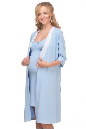 Халат трикотажный арт. 25305 голубой для беременных и кормления
