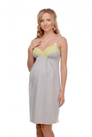 Ночная рубашка арт. 25202 светло-серый меланж для беременных и кормления