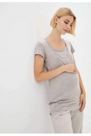 Футболка базовая латте для беременных и кормящих