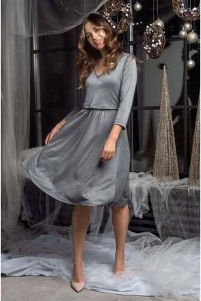 Платье трикотажное с люрексом Shine (графит) для беременных и кормящих