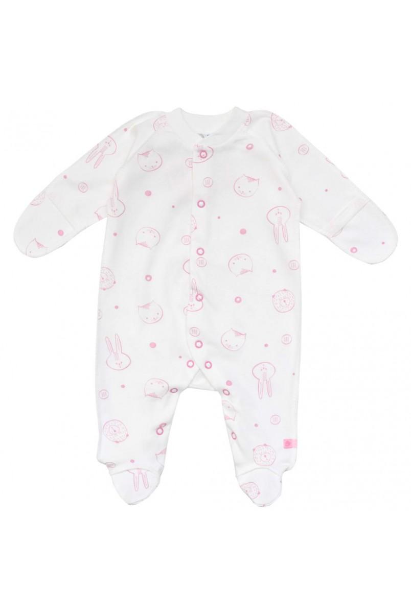 Комбінезон для діток з малою вагою арт. 01102 молочний/рожевий