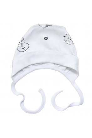 Шапочка чепчик для детей Minikin арт. 21303 белый черный