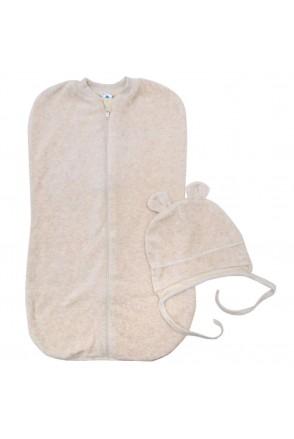 Велюровая пеленка-кокон с подкладкой и шапочка Minikin 1817604 56 бежевый