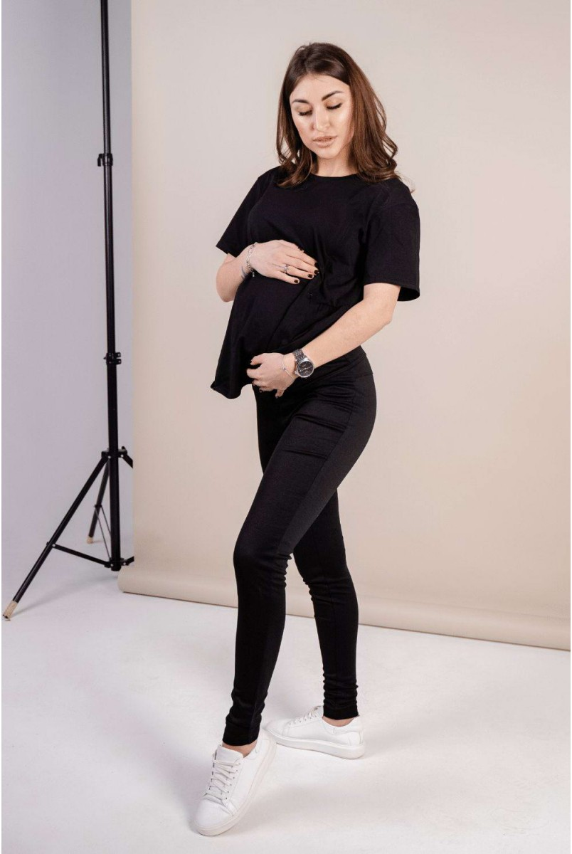 Штани (легінси) 1082043-5 чорний Для вагітних