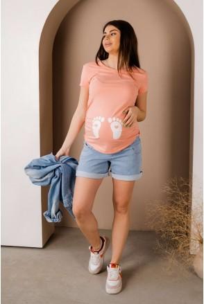 Шорты джинсовые 4174491 голубой для беременных
