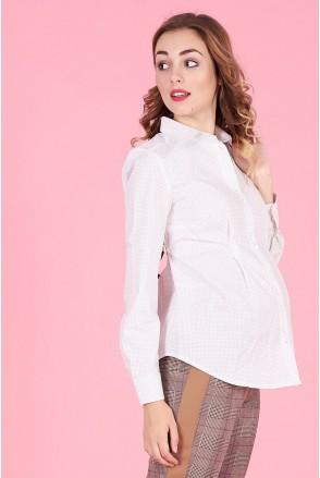 Блуза 1308224 белый горошек для беременных