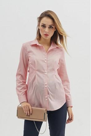 Блуза 1308224 красный полоска для беременных