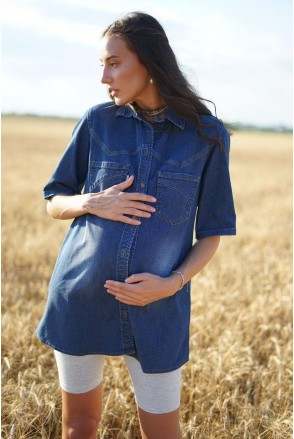 Блуза 898411 синий варка 3 для беременных и кормления
