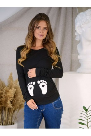Джемпер 4024041-51 чорний Бурштин для вагітних