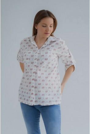 Блуза (рубашка) 4241715 сахарный миндаль для беременных и кормления