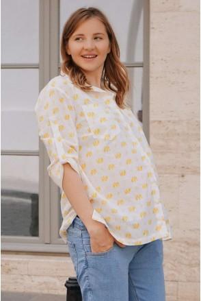 Блуза (рубашка) 4241715 желтый для беременных и кормления