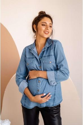 Блуза (Рубашка) 4162463 голубой для беременных и кормления