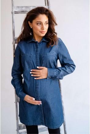 Блуза (рубашка) 1268463 синий для беременных и кормления
