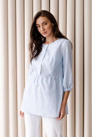 Блуза 4317737 голубой для беременных и кормления