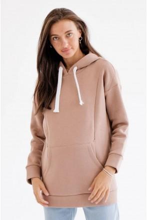 Теплый худи для беременных и кормления To be 4197115 коричневый