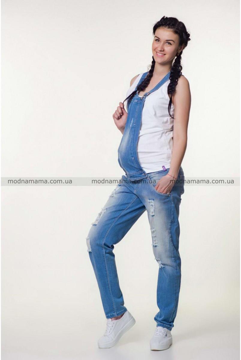 Полукомбінезон джинсовий арт. 10025629 синій варка 1 рванка для вагітних