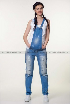 Полукомбинезон джинсовый арт. 10025629 синий варка 1 рванка для беременных