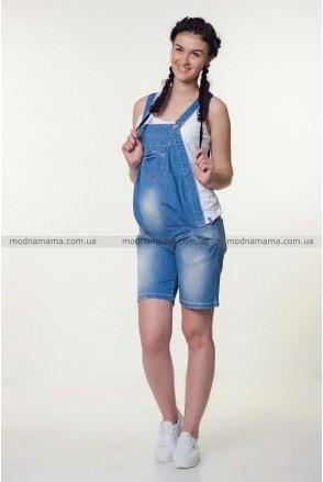 Полукомбинезон-шорты джинсовый арт. 1174358 синий варка 1 рванка для беременных