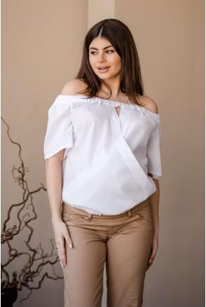Блуза 4184066 белый для беременных и кормления