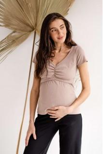 Футболка 4307138 мокко для беременных и кормления