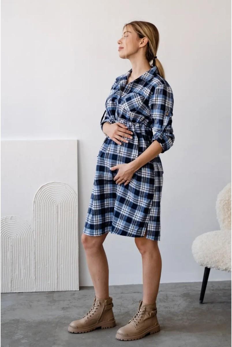 Сукня-сорочка 4206729 Блакитний для вагітних і годування