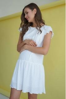 Сукня 4244077 біла прошва для вагітних і годування