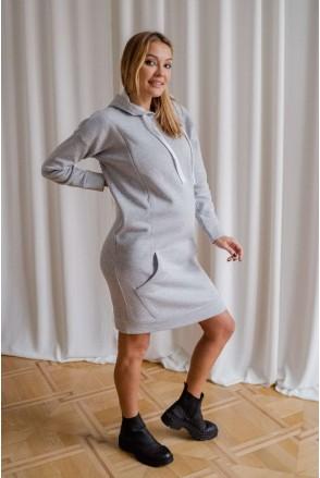 Платье-худи 4284115 серый меланж для беременных и кормления