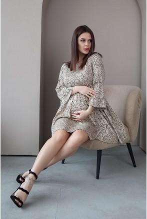 Платье 4291734 бежевый для беременных и кормления