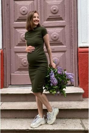 Платье 4315138 хаки для беременных и кормления
