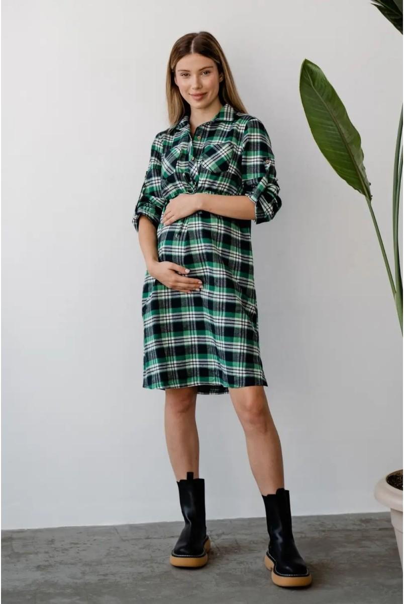 Платье-рубашка для беременных и кормления To be 4206729 зеленый