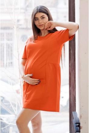 Платье 4242262 оранжевый для беременных и кормления