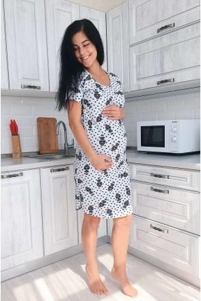 Сорочка 4103024 серый меланж для беременных и кормления