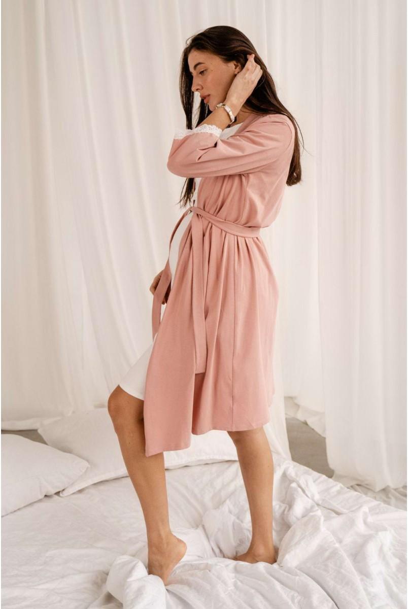 Комплект 4299041 (сорочка + халат) пудра для вагітних і годування