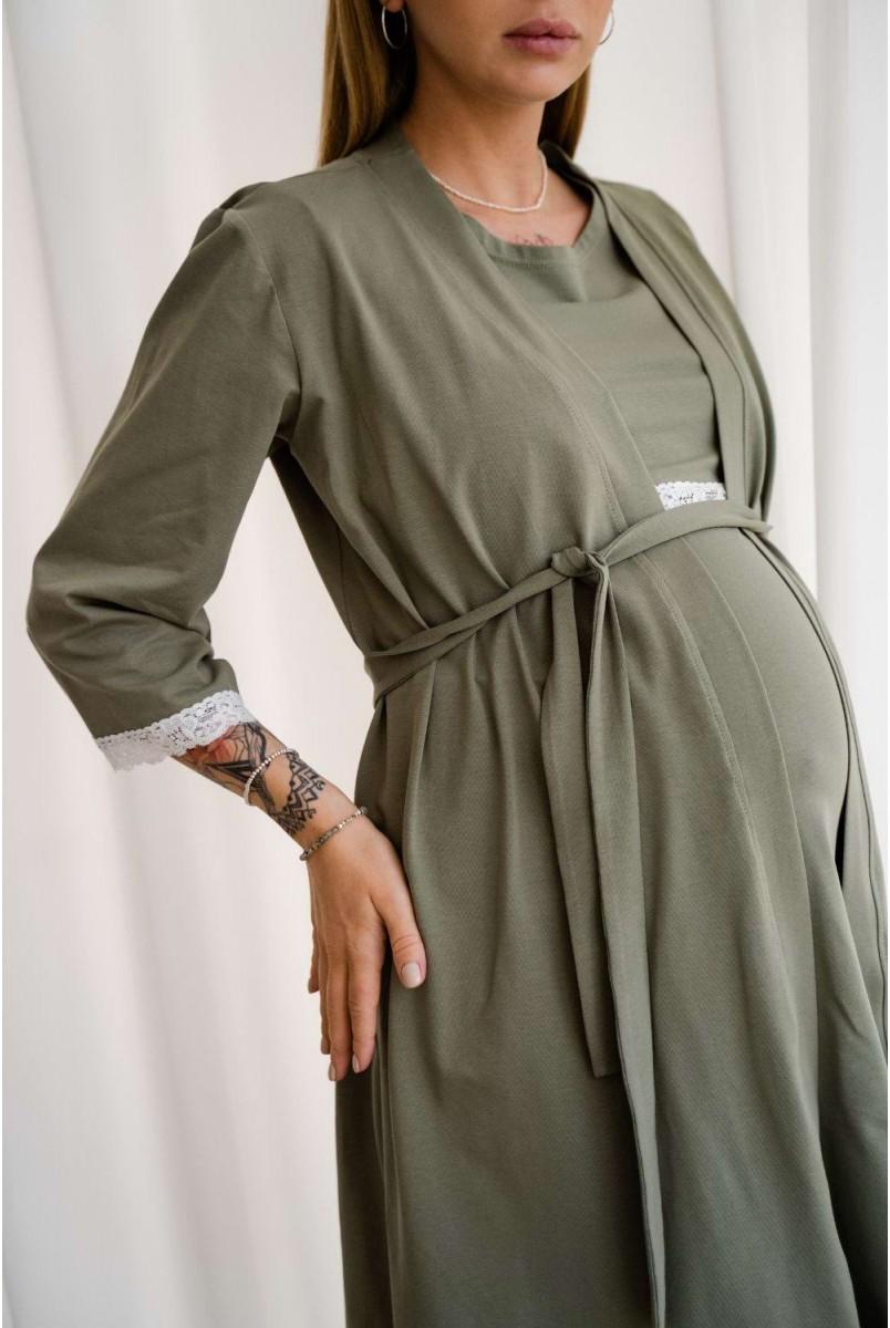 Комплект 4299041 (сорочка + халат) Хакі Для вагітних і годування