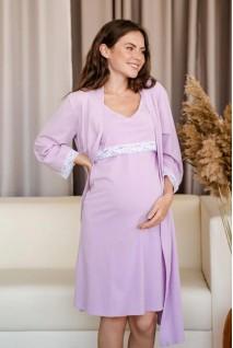 Комплект (сорочка + халат) для беременных и кормления To be 4333041 лавандовый