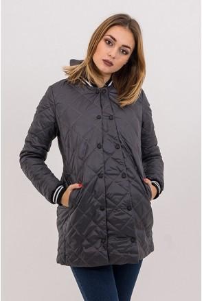 Демисезонная куртка 3133272 стеганная серая для беременных
