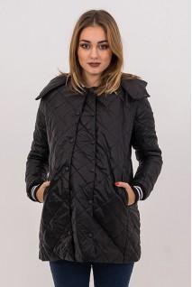 Демісезонна куртка 3133272 чорна стьобана для вагітних