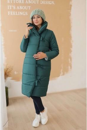 Зимняя куртка 3146274 тёмно-зелёная двухсторонняя для беременных