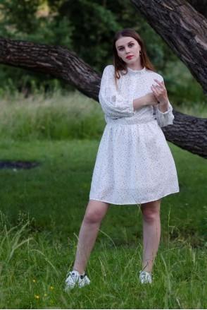 Платье HAVANA белый в черный горошек для кормления