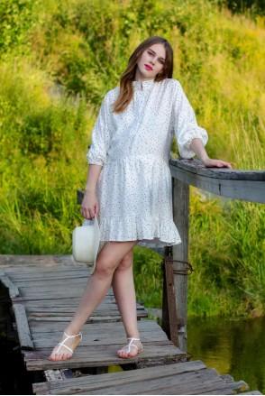 Платье SINDY белый в черный горошек для беременных и кормления