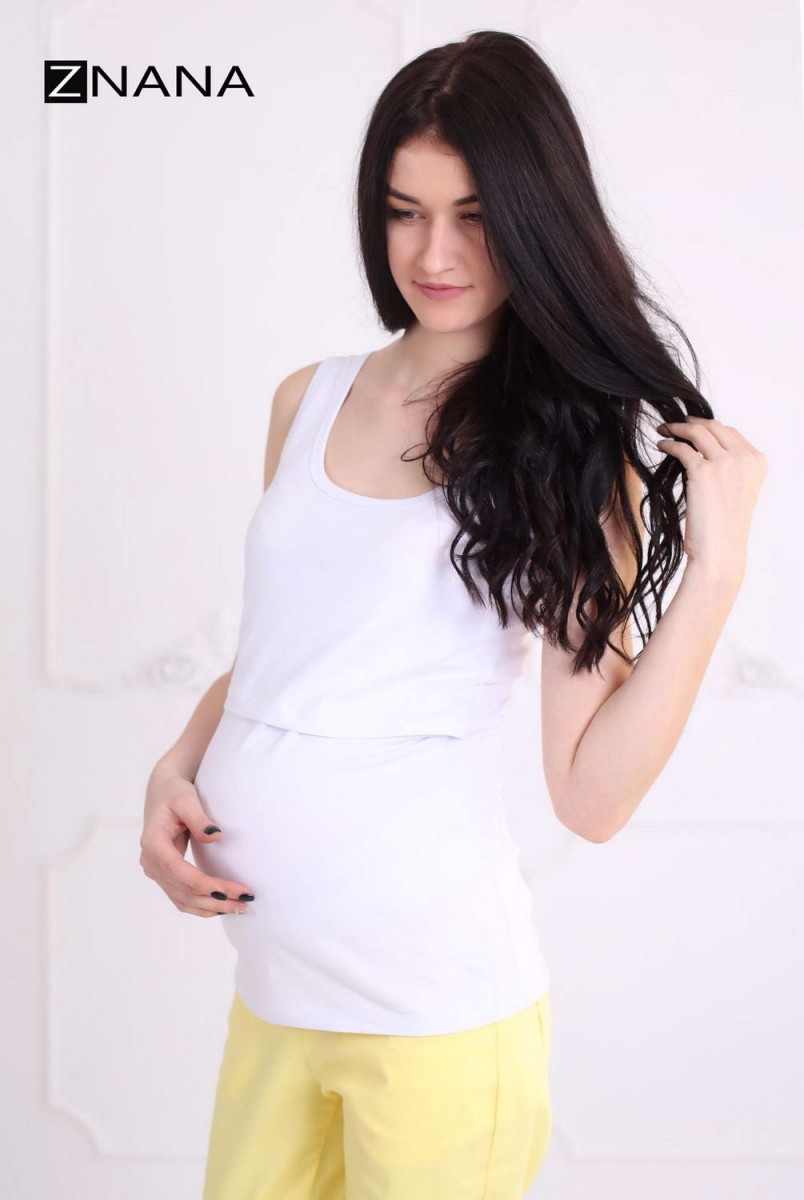 Майка Simple белая для беременных и кормящих