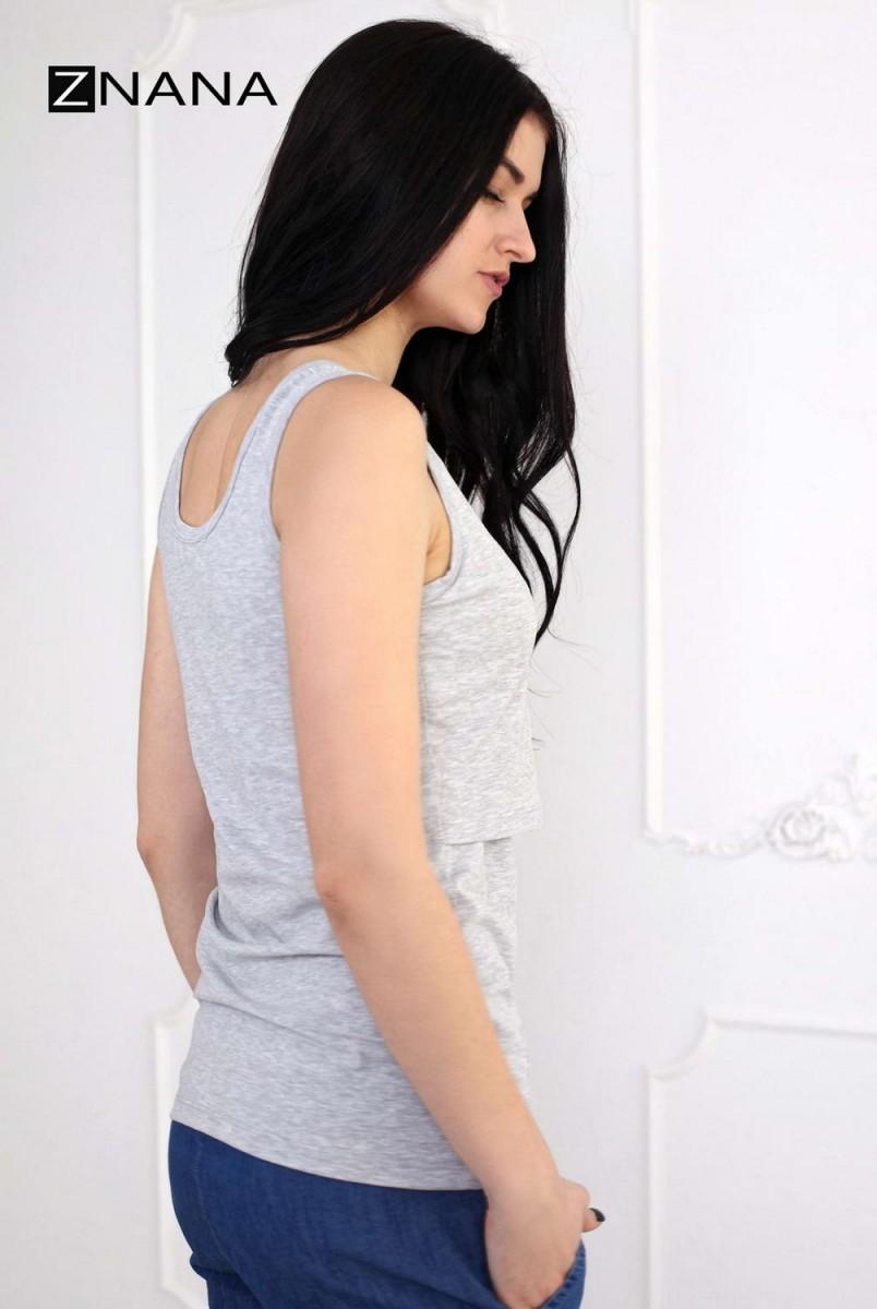 Майка Simple серый меланж для беременных и кормящих
