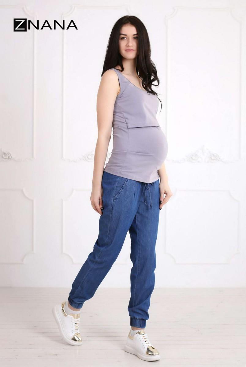 Майка Simple серая для беременных и кормящих