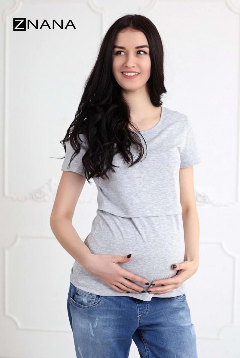 Футболка Simple серый меланж для беременных и кормящих