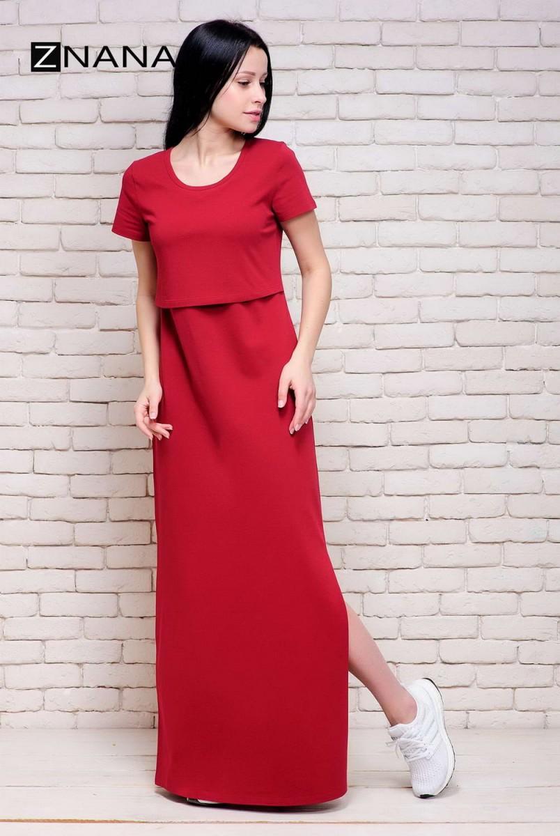 Платье-футболка Simple Long вишня для беременных и кормящих