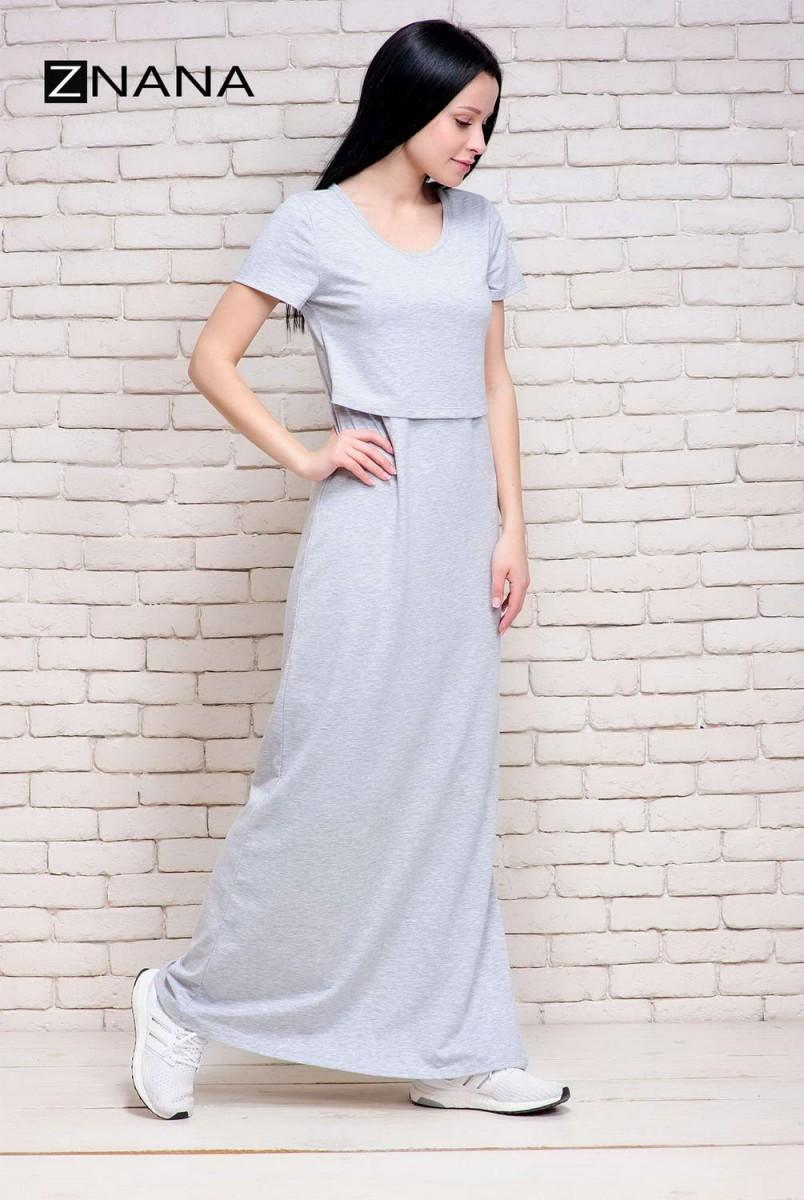 Платье-футболка Simple Long серый меланж для беременных и кормящих