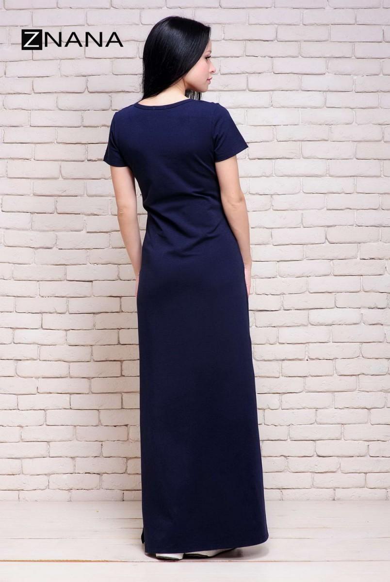 Платье-футболка Simple Long темно-синий для беременных и кормящих