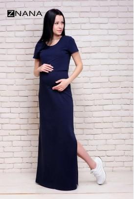 Сукня-футболка Simple темно-синій меланж для вагітних і годування