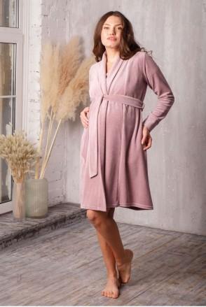 Халат Care велюровый пудровый беж для беременных и кормления